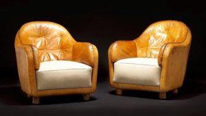 Unika-lænestole, Club Chairs, af Arne Jacobsen. Tegnet i 1935. Solgt hos Bruun Rasmussen for 410.000 kr.